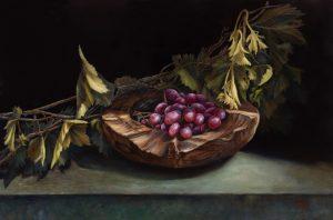 Schaal met rode druiven