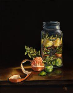 Glazen pot met fruit en munt